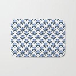 Ajrak Woodblock Floral Print in Blue Bath Mat