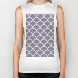Large lilac gray scallops with fractal texture Biker Tank