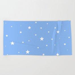 Scattered Stars on Sky Blue Beach Towel