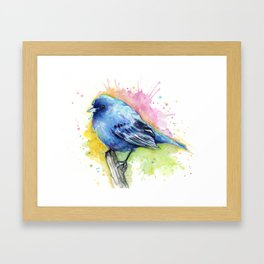 Blue Bird Indigo Bunting Colorful Animals Framed Art Print