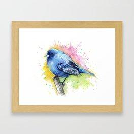 Blue Bird Indigo Bunting Colorful Animals Framed Art Print