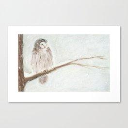 Owl Snow Canvas Print