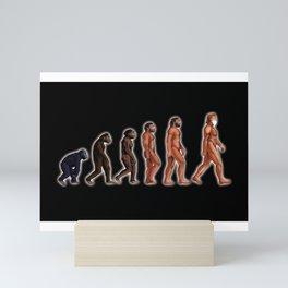 EVOLUTION WITH FACE MASK Mini Art Print
