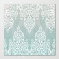 moroccan Canvas Prints featuring Lace & Shadows - soft sage grey & white Moroccan doodle by micklyn