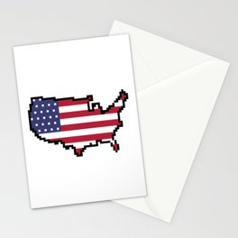 8-Bit United States of America Map and Flag Stationery Cards