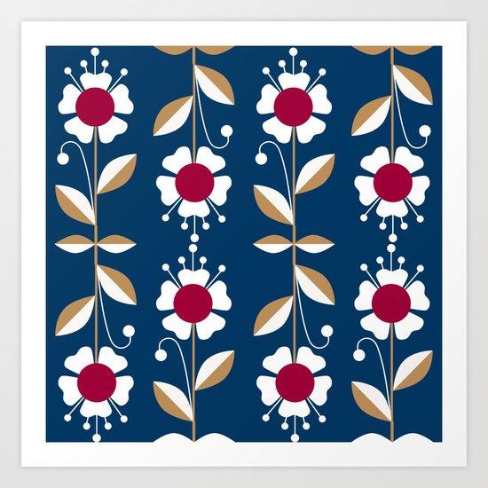 Blue floral pattern . Art Print