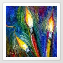 Illuminated Paintbrushes Art Print