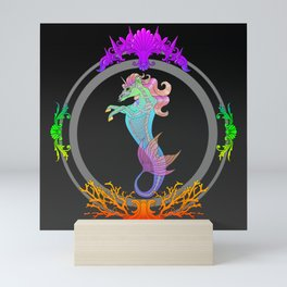 Framed Neon Sea Horse Mini Art Print