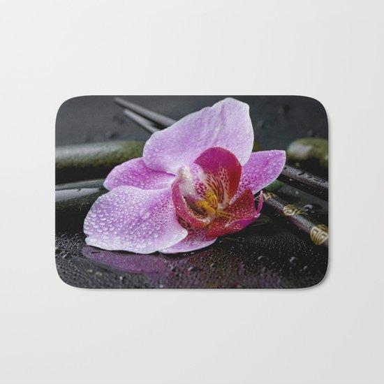 Pink orchid zen black still life Asia Bath Mat