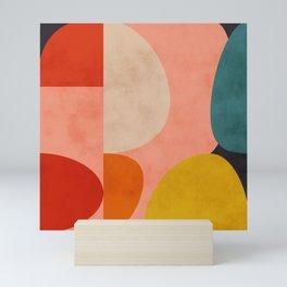 geometry shape mid century organic blush curry teal Mini Art Print