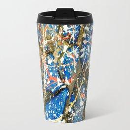 Blue Paint Drip Pollock Stones Travel Mug