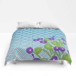 Morning Glory Pattern Blue Sky Comforters