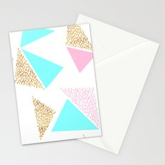 Gold, Pink, and Aqua Triangle Pattern Stationery Cards
