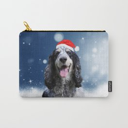 Cute Cocker Spaniel Dog Snow Stars Blue Christmas Carry-All Pouch