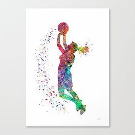 Basketball Girl Player Sports Art Print Canvas Print