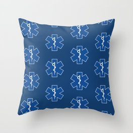 EMT Health Care Rod of Asclepius Blue Star of Life Medical Symbol Throw Pillow