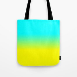 Neon Aqua and Neon Yellow Ombré  Shade Color Fade Tote Bag