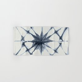 Shibori Starburst Indigo Blue on Lunar Gray Hand & Bath Towel