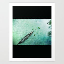 Green Boat Lagoon in Kerala -131 Art Print
