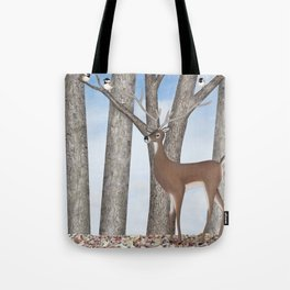 white-tailed deer & chickadees in the forest Tote Bag