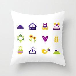 New folk icons : blue yellow Throw Pillow