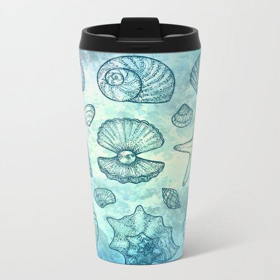 Blue Seashells Metal Travel Mug