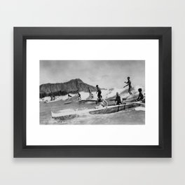 Vintage Surfing Hawaii Framed Art Print