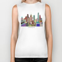 philadelphia Biker Tanks featuring Philadelphia city sklyine by bri.buckley