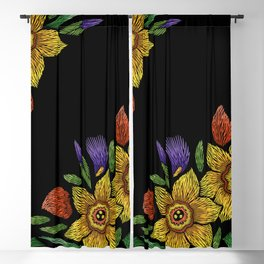 Embroidered Flowers on Black Corner 05 Blackout Curtain