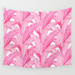 Pink banana leaves tropical pattern on white Wall Tapestry