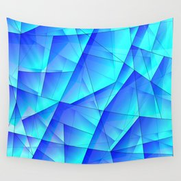 Abstract celestial pattern of blue and luminous plates of triangles and irregularly shaped lines. Wall Tapestry