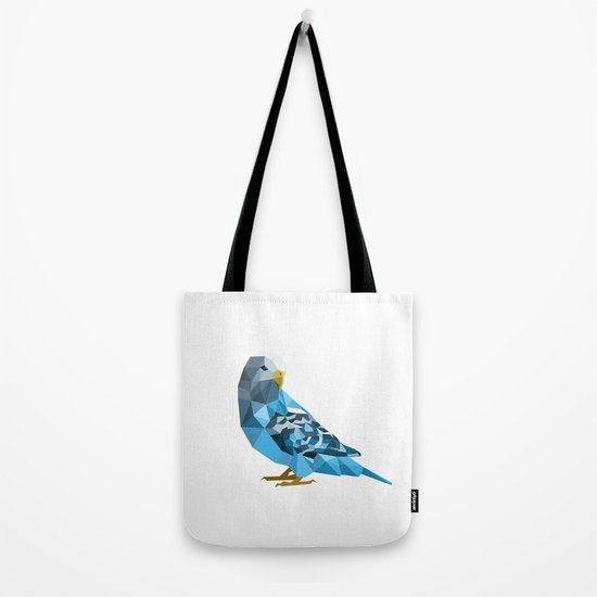 Geometric blue parakeet Tote Bag