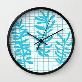 Grid Sprig - aqua blue Wall Clock