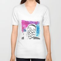 lv V-neck T-shirts featuring  LV Scarf / Face  by Simon Marsiglia