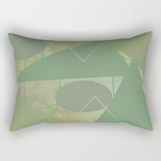 Subdued Green Geometric Abstract Rectangular Pillow