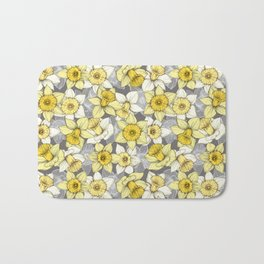 Daffodil Daze - yellow & grey daffodil illustration pattern Bath Mat