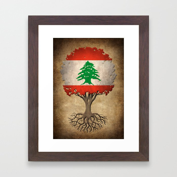 Vintage Tree of Life with Flag of Lebanon Framed Art Print