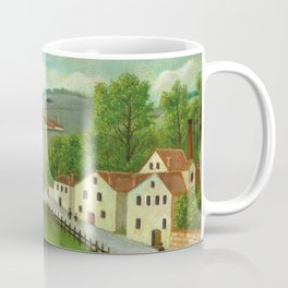 """Henri Rousseau """"Pastoral landscape with stream, fisherman and stroller"""" Coffee Mug"""