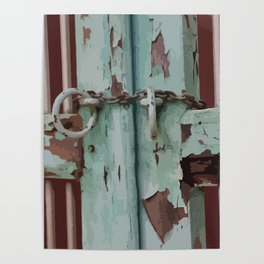 Closed Door Illustration with Chain Poster
