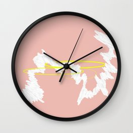 Let it flow #minimal #abstract #neon #blush #hoops Wall Clock