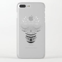 Sugar Skull - Day of the dead bw Clear iPhone Case