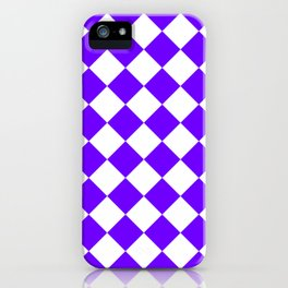 Large Diamonds - White and Indigo Violet iPhone Case