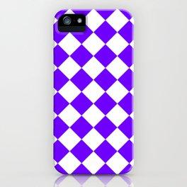 Large Diamonds - White and Indigo Violet iPhone Case
