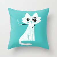 budi Throw Pillows featuring Mark - Aristo-Cat by Picomodi