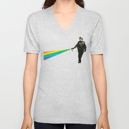 Pepper Spray Cop Rainbow - Pop Art Unisex V-Neck