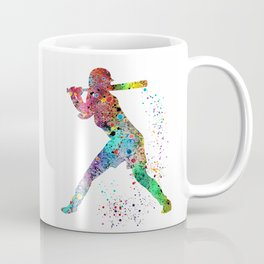 Baseball Softball Player Sports Art Print Watercolor Print Girl's softball Coffee Mug
