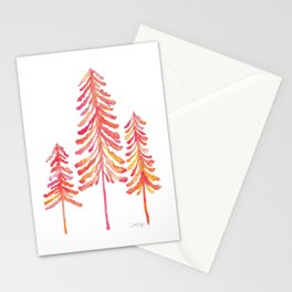 Pine Trees – Pink & Peach Ombré Stationery Cards