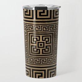 Greek Key Ornament - Greek Meander -Black on gold Travel Mug