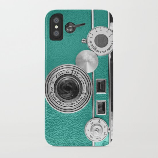 Teal retro vintage phone iPhone Case