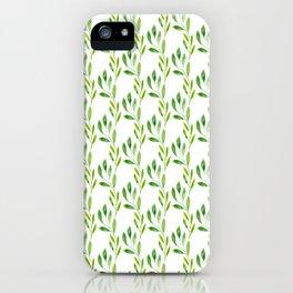 green watercolor vines iPhone Case